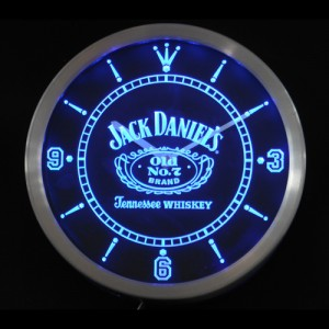 horloge lumineuse led bleu jack daniel 39 s 25cm. Black Bedroom Furniture Sets. Home Design Ideas